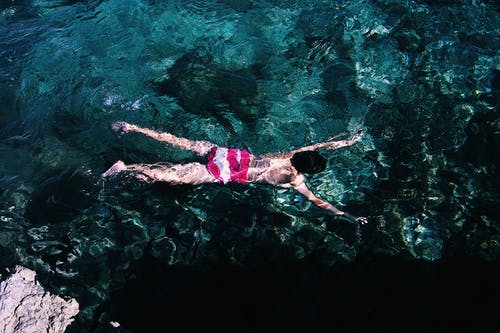 High Angle Photo of Person Swimming