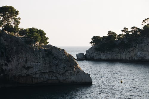 Trees On Mountain Rock Formations On The Sea
