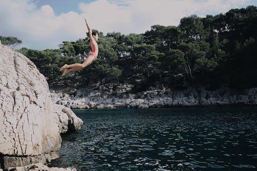 Foto profissional grátis de abismo, água, arremesso com salto, árvores