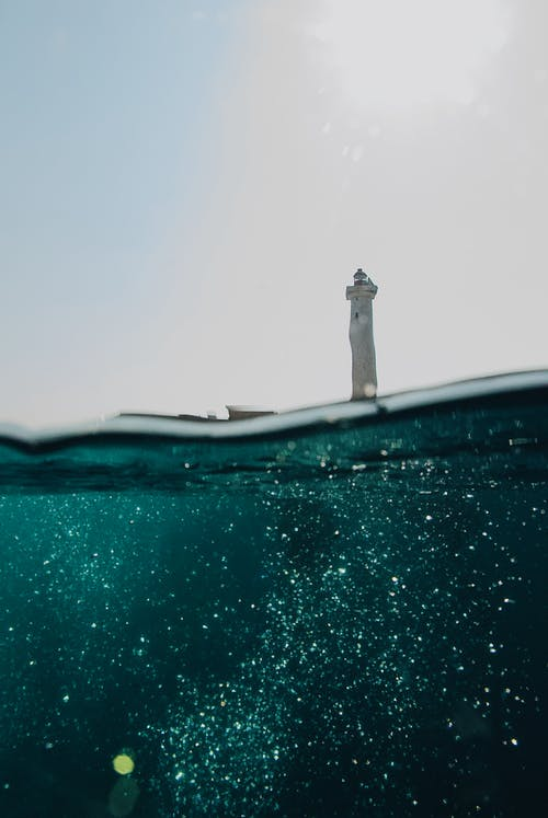 Low Angle Shot Of A Light House From Sea Surface