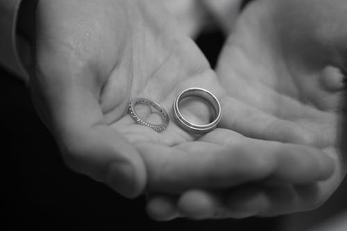 Free stock photo of black and white, wedding bands