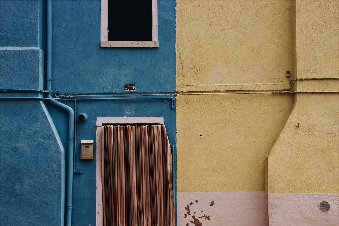 A Wall Painted With Two Colors