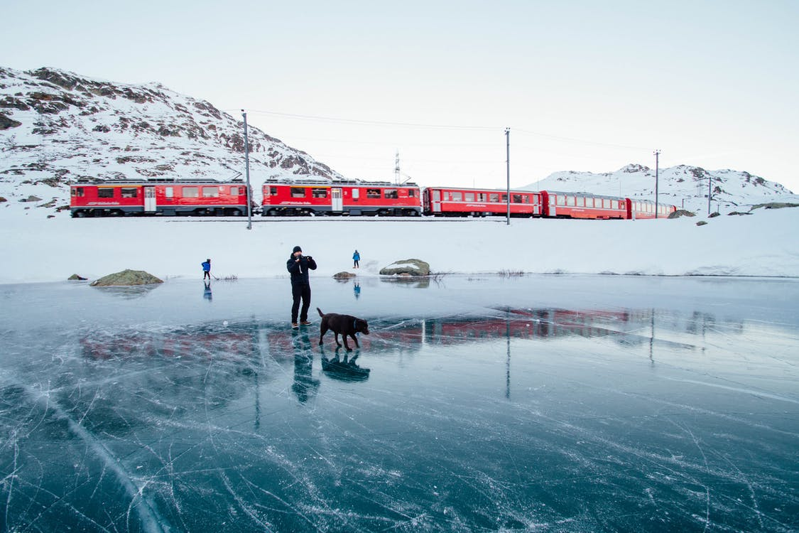 Man and Dog on Frozen Lake in Front of Train
