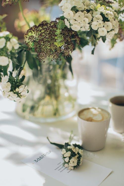 Gratis arkivbilde med blomster, blomsterarrangement, bord, drikke