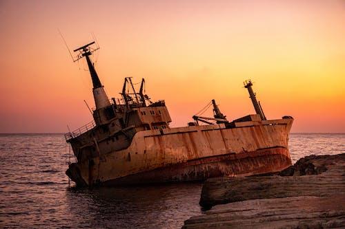 Tilted Ship During Golden Hour