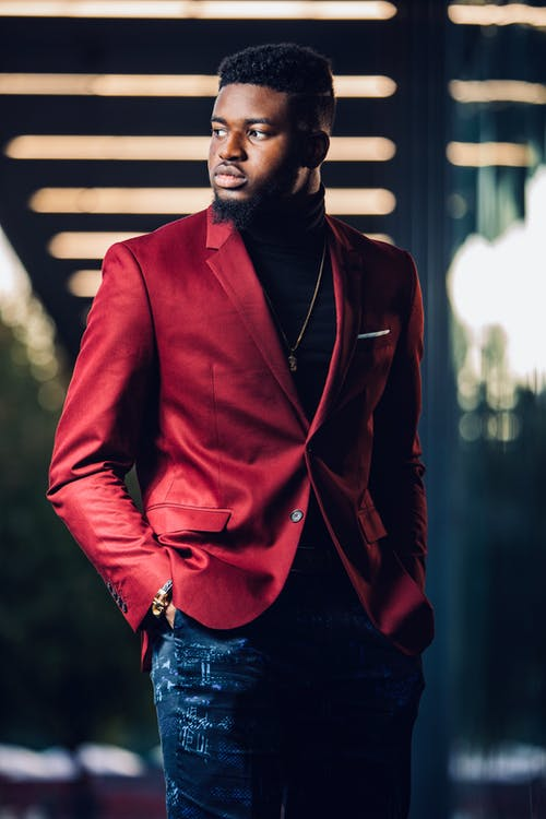 Standing Man Wearing Red Suit