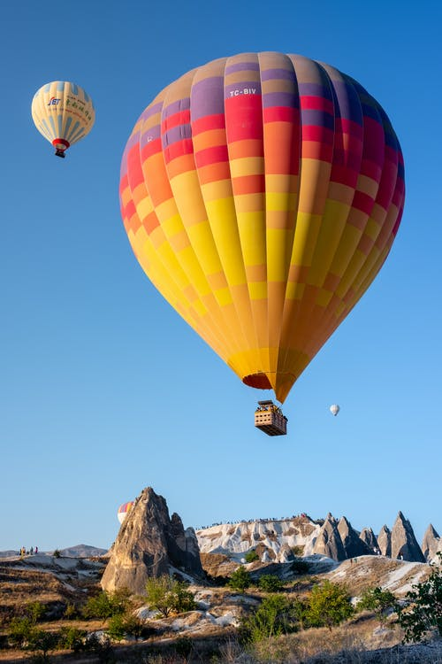 Two Hot Air Balloons Flying on Sky