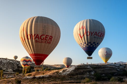 Red and White Hot Air Balloons