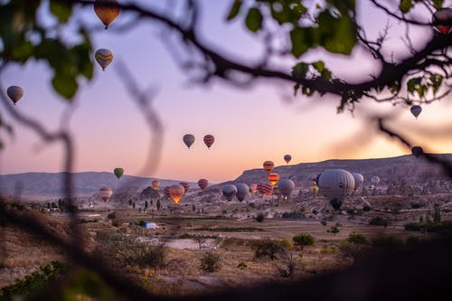 Flying Hot Air Balloons