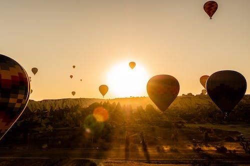 Free stock photo of dawn, gold, hot air balloons, sunrise
