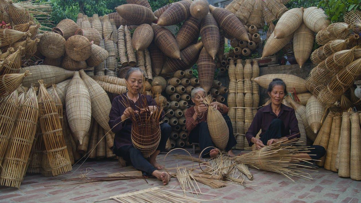 bambus, fiskefælder, vietnam