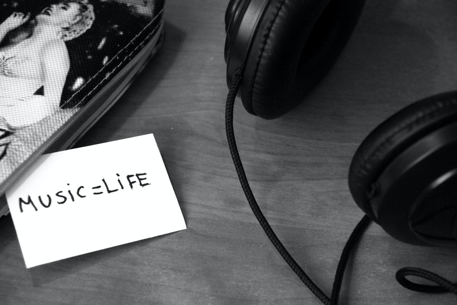 black-and-white, headphones, life