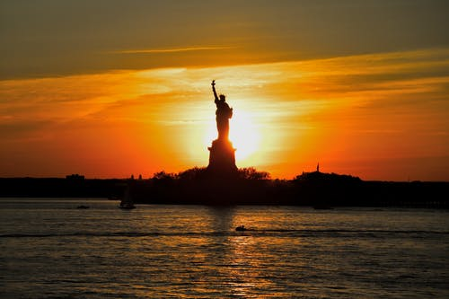 Free stock photo of new york, Statue of Liberty, sunset