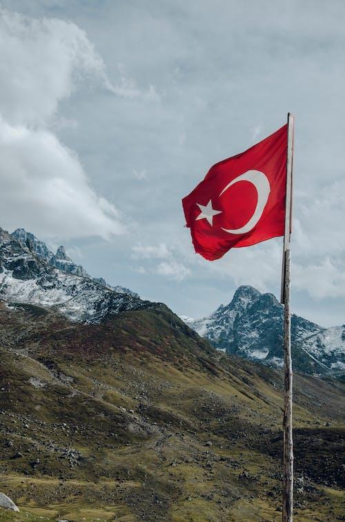 Foto stok gratis angin, awan, bangsa, bendera
