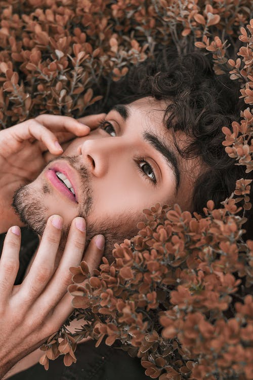 Photo Of Man Lying On Brown Plants