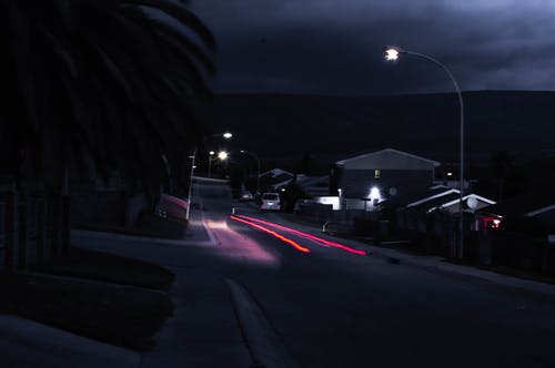 Free stock photo of car lights, dark clouds, dark red, night time