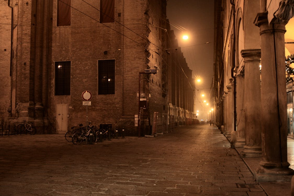 alley, bologna, evening