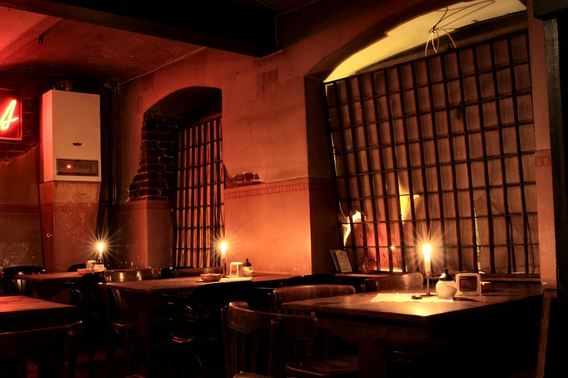 bar, candle, night