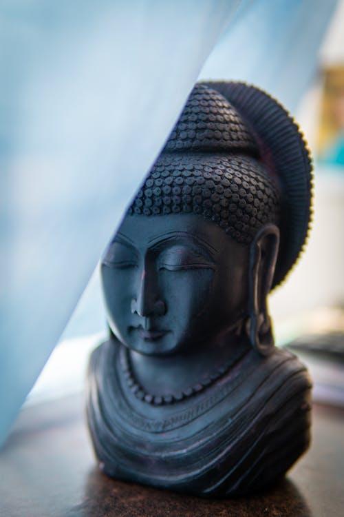Gray Buddha Head Statue
