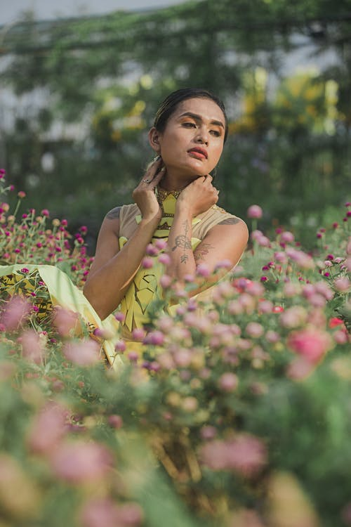 Imagine de stoc gratuită din afară, câmp de flori, femeie, în timpul zilei