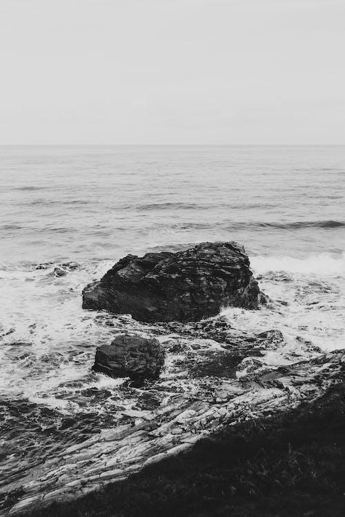 Darmowe zdjęcie z galerii z czarno-biały, fala, fotografia monochromatyczna, morze