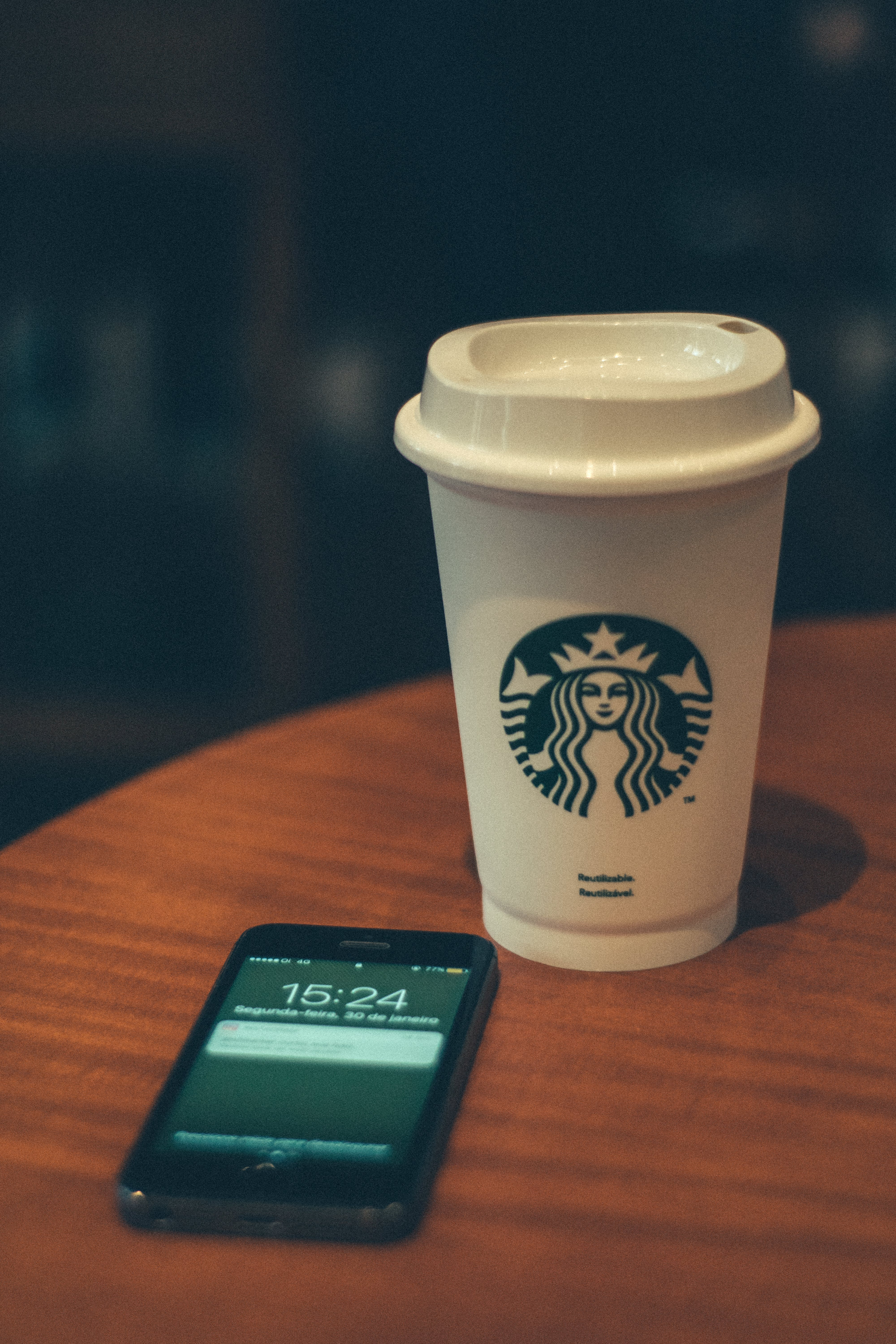 Starbucks Disposable Cup Beside Iphone 5s