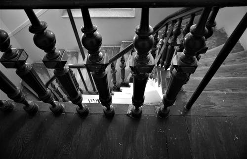Free stock photo of black and white, hall, monochrome, stairs