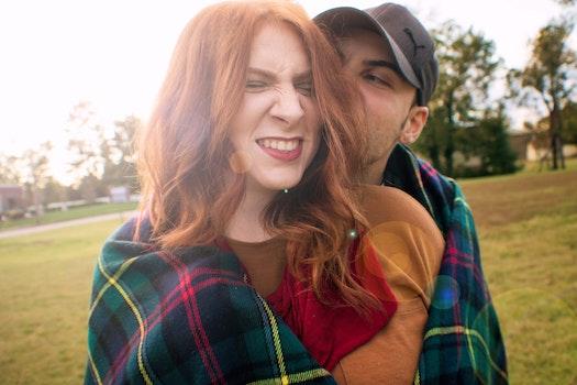 Free stock photo of couple, love, kiss, fall