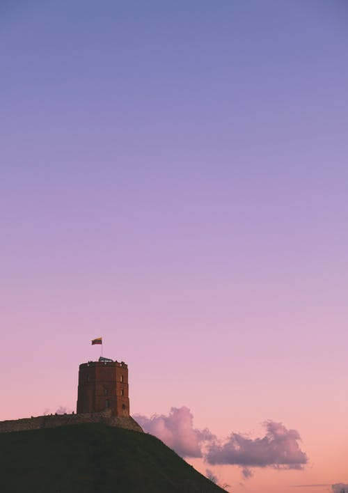 Brown Castle Under Blue and Pink Sky