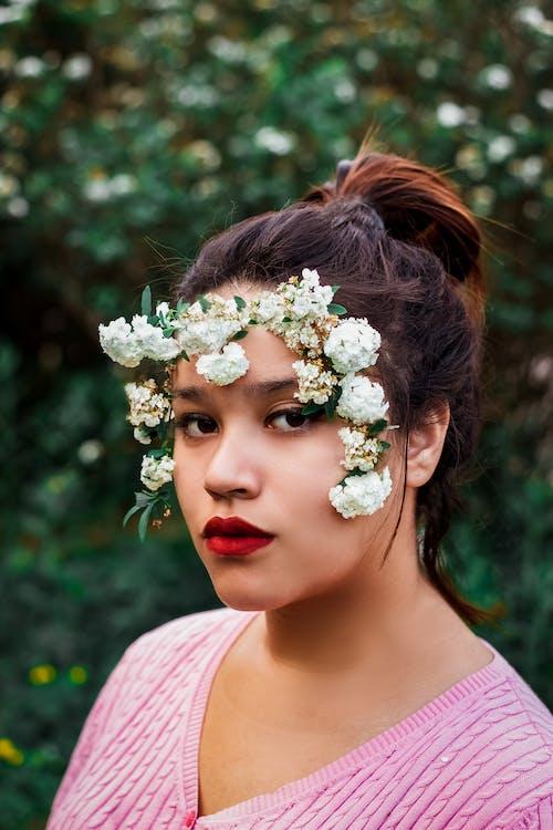 ansikt, ansiktsuttrykk, blomster