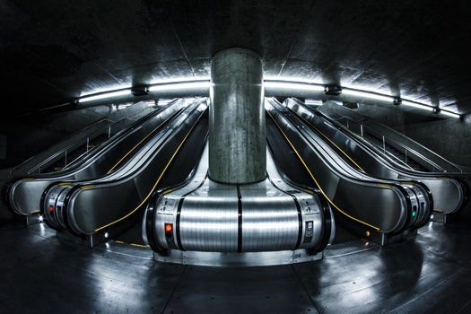 Free stock photo of lights, dark, escalator, pillar