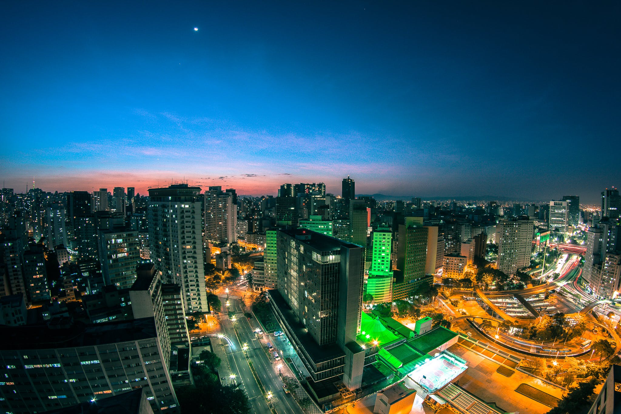 Aerial Photography of Skyline at Night