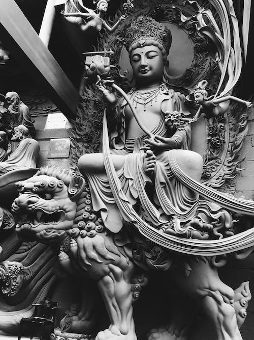 Fotobanka sbezplatnými fotkami na tému Boh, Buddha, budhizmus, čierna a biela