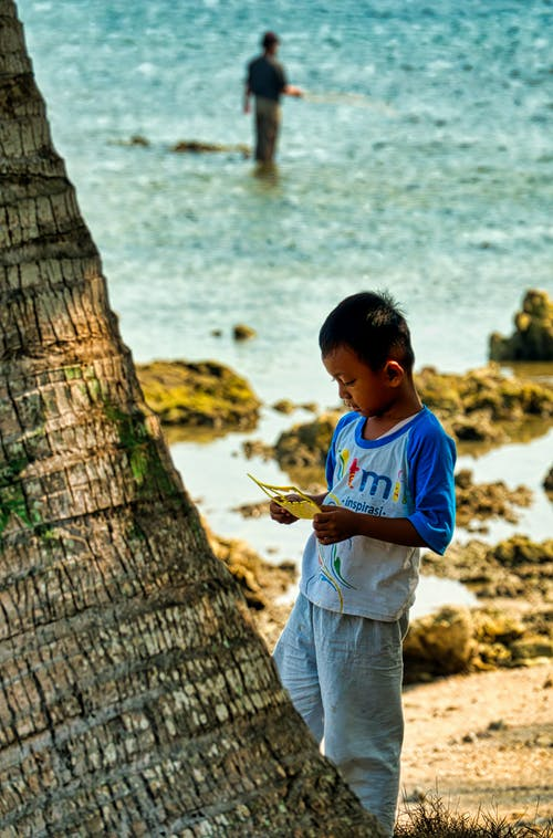 Selective Focus Photo Of Boy Standing Near Palm Tree