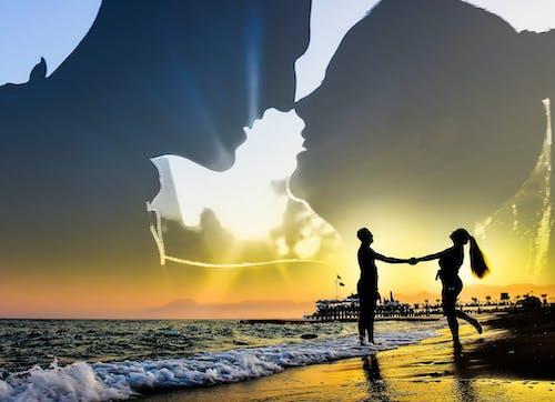 바다, 셀카, 실루엣, 어도비 포토샵의 무료 스톡 사진