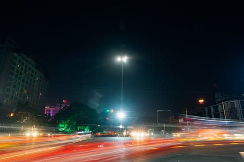 Time-Lapse Photography of Highway During Night