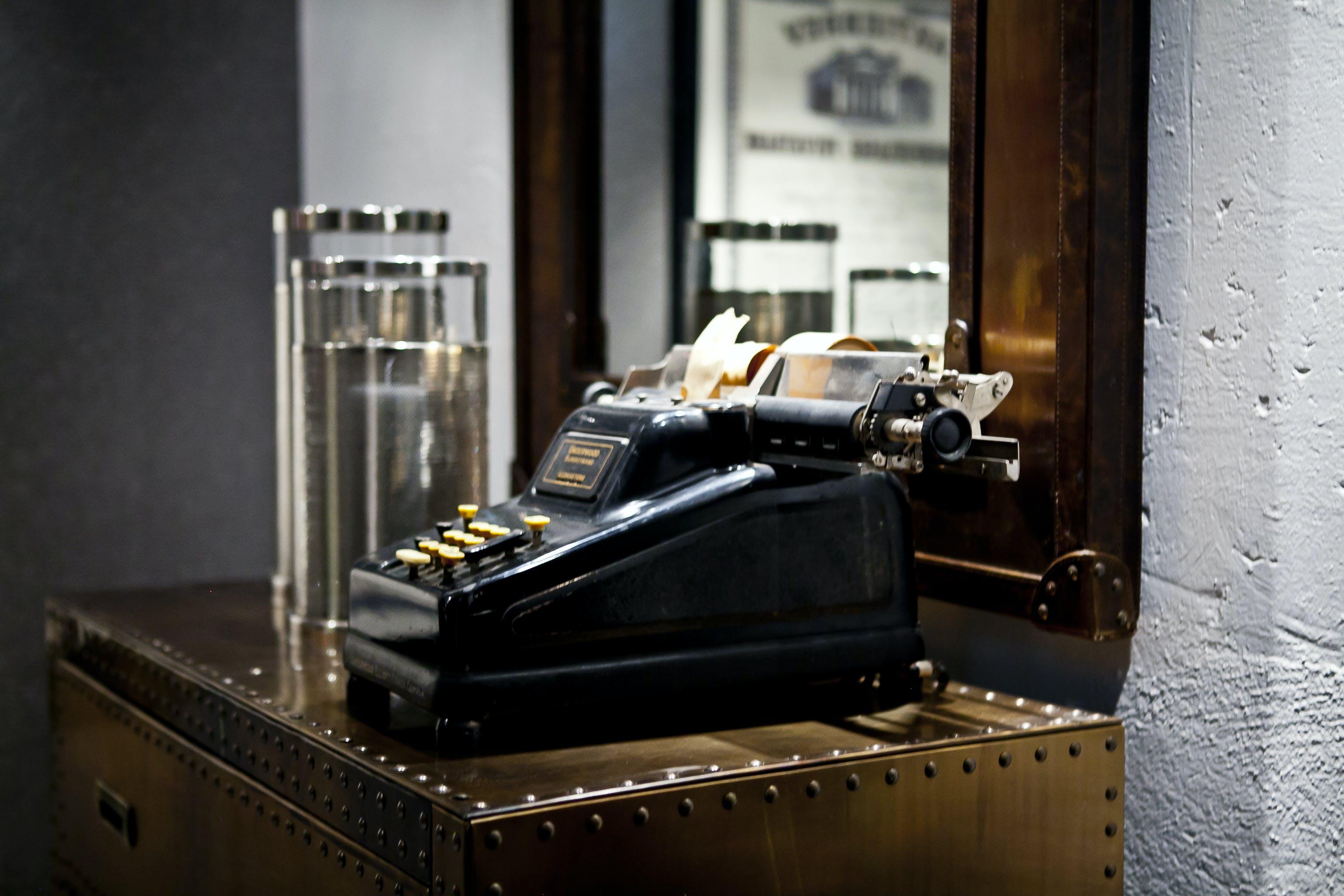 Black Typewriter on Desk