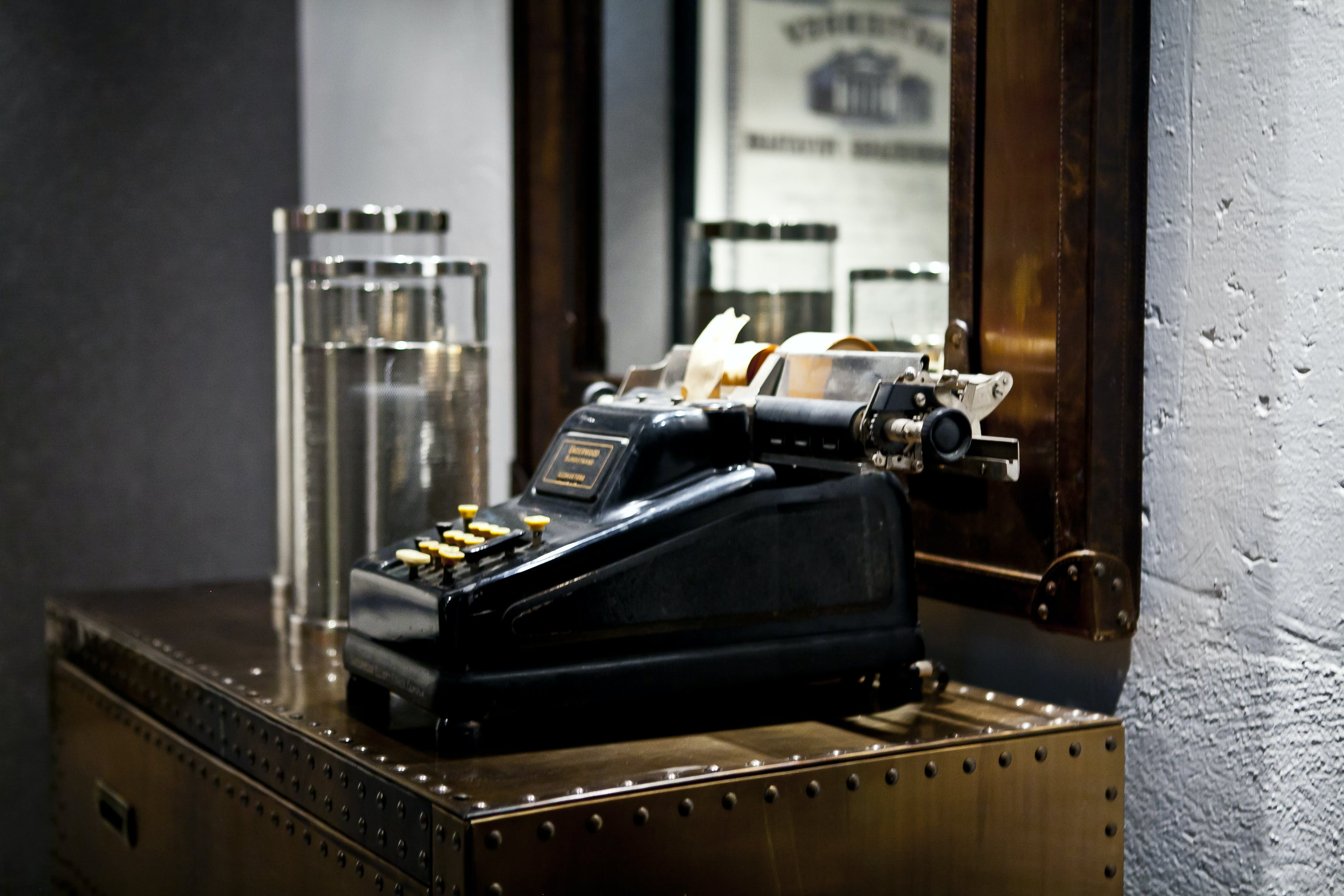 Black Typewriter on Desk