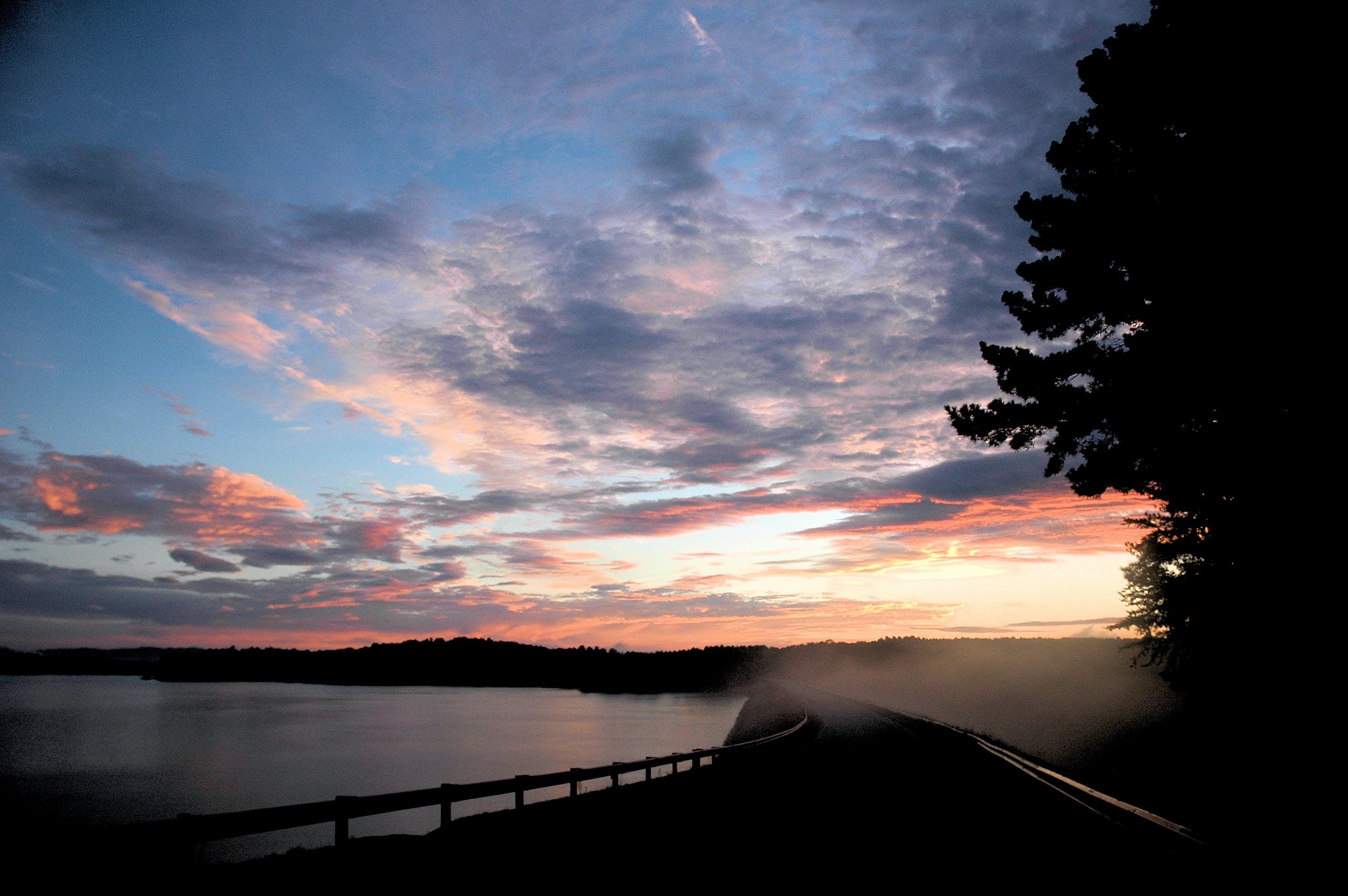 Free stock photo of bridge, lake, sunrise