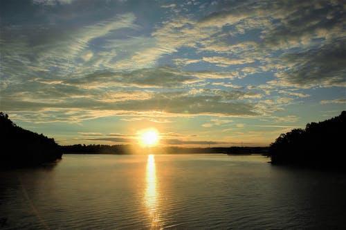Free stock photo of sunrise, sunrise over lake