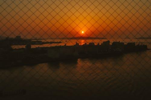 太陽, 日落, 海, 看塔 的 免費圖庫相片