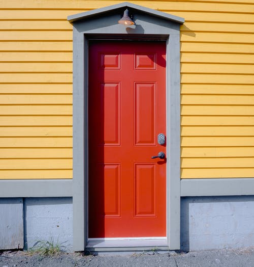 Closed Red Wooden Door