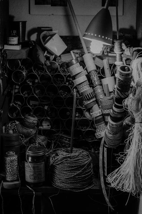 Grayscale Photography of Ropes