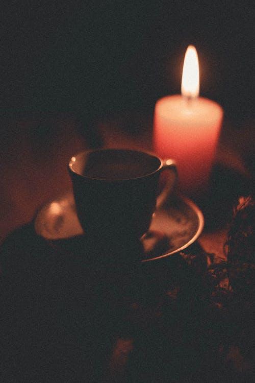 Black Ceramic Mug and Pink Pillar Candle