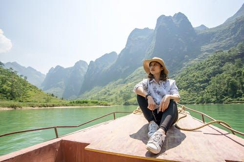 アジアの女の子, 人々, 山, 川の無料の写真素材