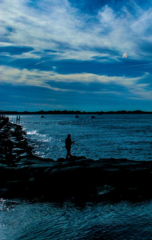 Free stock photo of fisherman, new jersey, ocean, shore