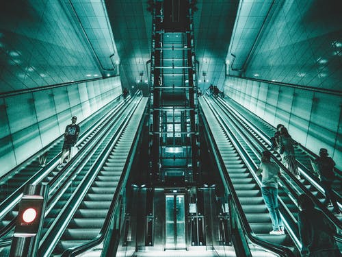 Free stock photo of cyan, elevator, escalator, glass