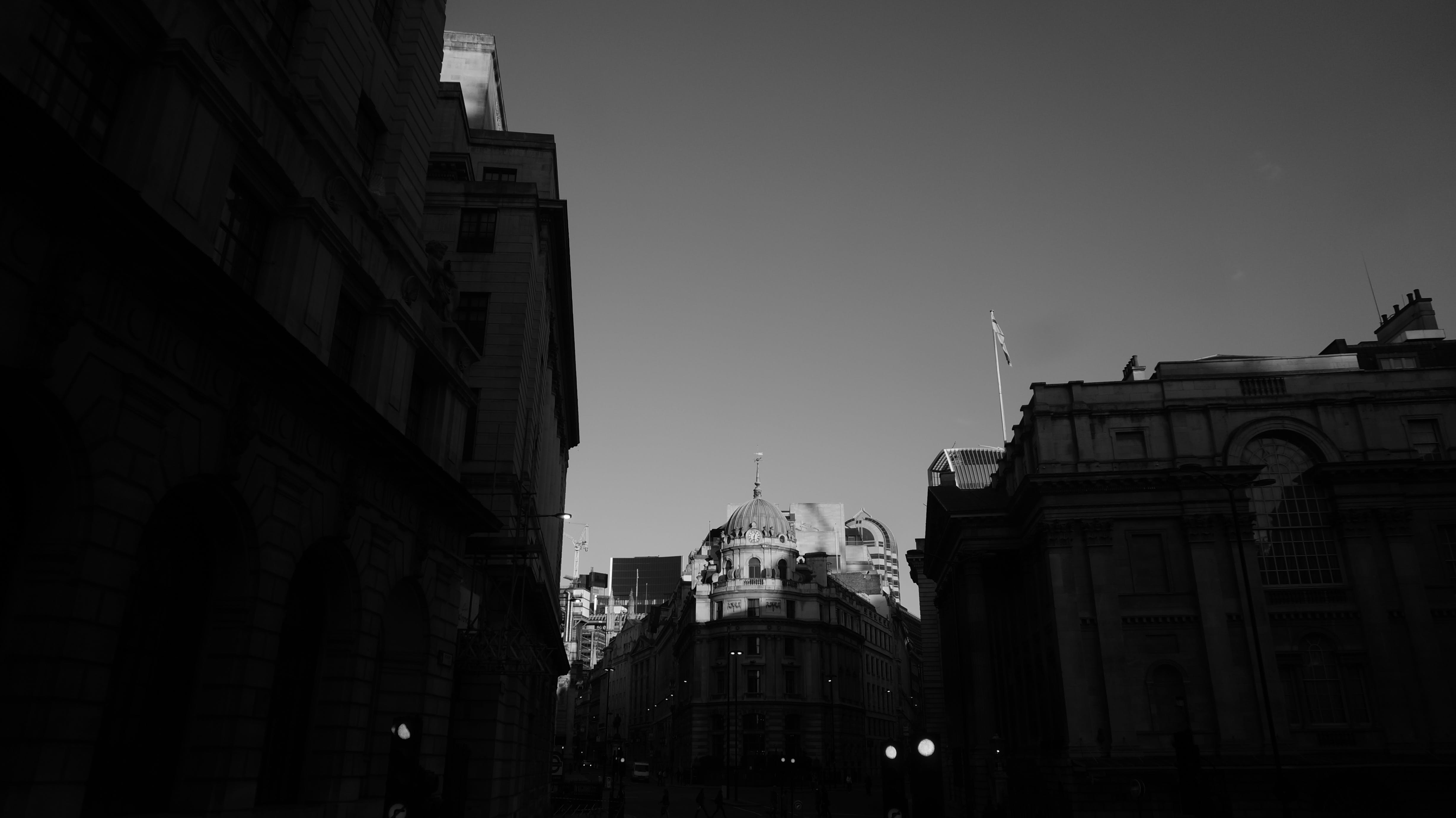 Free stock photo of black and white, london, old buildings, street
