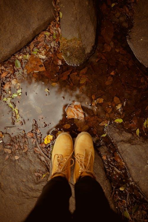 ayakkabılar, çekilmiş, deri çizmeler, geniş açılı çekim içeren Ücretsiz stok fotoğraf