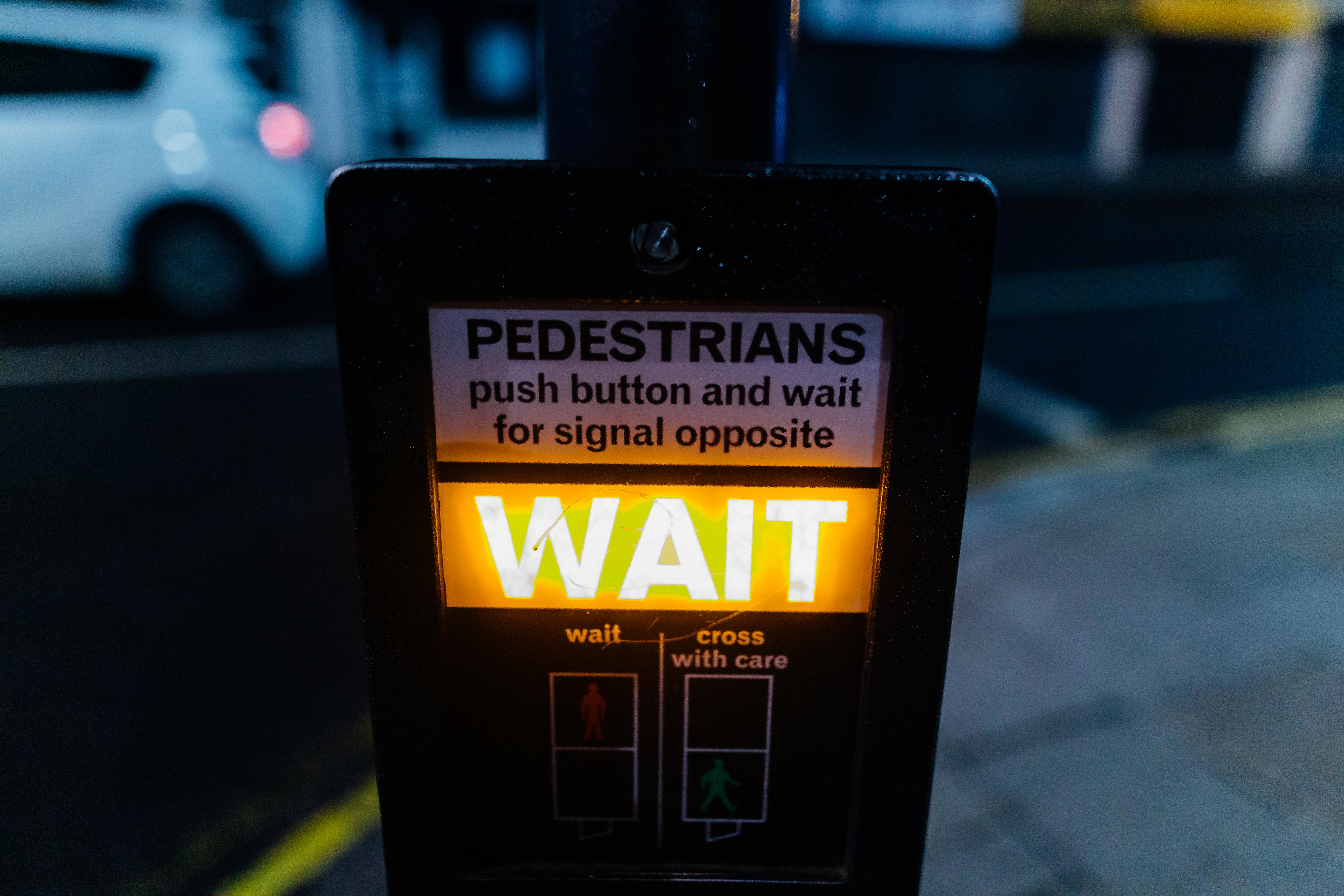 Yellow Wait Signage